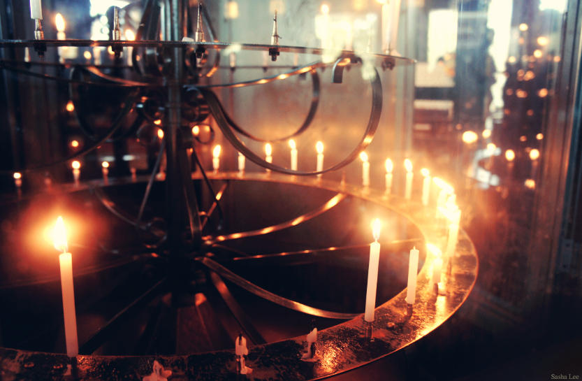 mysterious and beautiful candles lit up in a japanese buddhist temple in tokyo