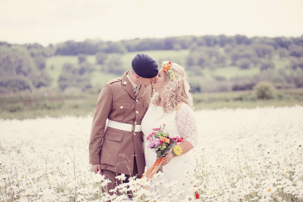Wharfedale Grange Farm wedding festival camping theme countryside wedding with a big white flower field and Leeds natural wedding photography of a quirky and alternative bride and groom