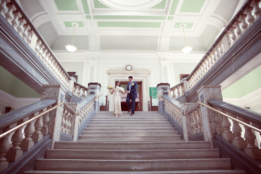 London Islington Town Hall wedding venue with natural wedding photography of a mix race marriage by Sasha Lee Photography