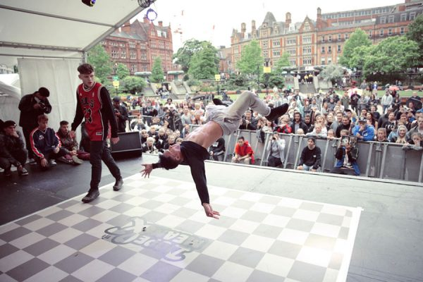 Sheffield Yorkshire breakdance event competition Dope & Mean 2017 in association with Tramlines Festival at the Sheffield Peace Gardens stage, hosted by Nathan Gordon