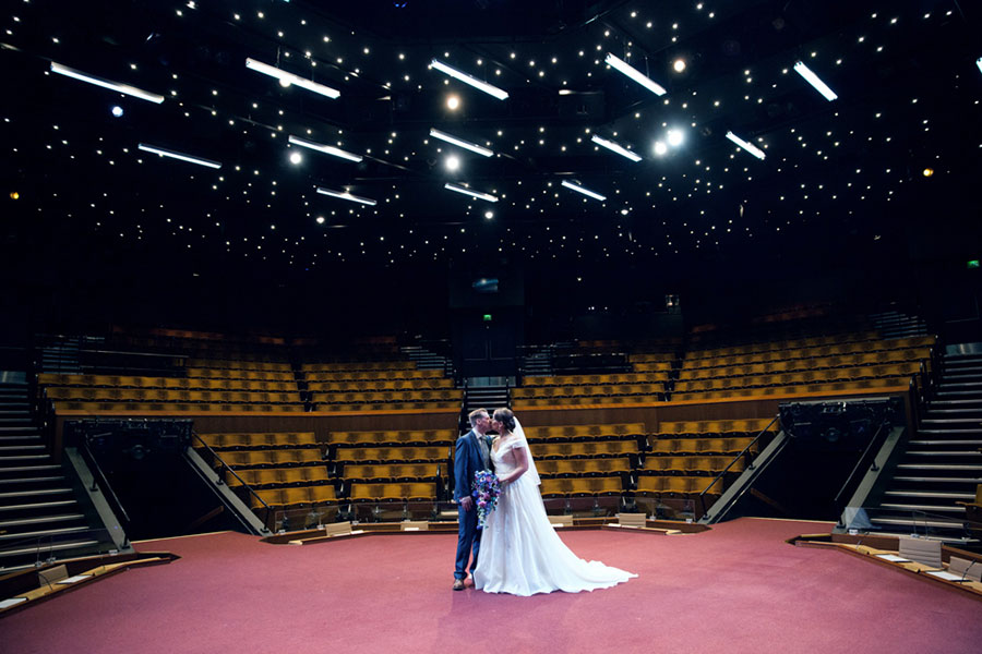 A gorgeous natural photography wedding at the crucible theatre in Sheffield - unique alternative theatre wedding on stage by Sasha Lee Photography