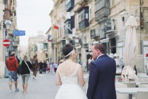 A beautiful wedding photograph in Malta Valetta with an English destination couple