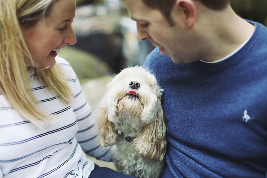 A cute engagement photoshoot with a pet dog