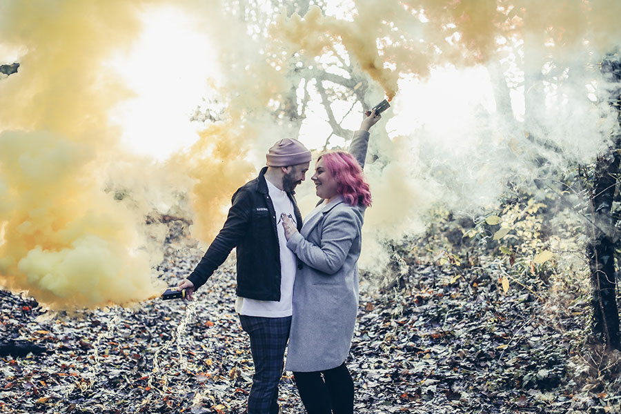 Leeds engagement photoshoot | Leeds engagement couple photography | Smoke bomb at couple shoot