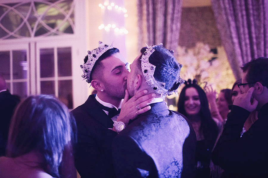 Hazlewood Castle wedding | Yorkshire Leeds natural wedding photography | Leeds wedding venue | UK castle wedding venue | Gay wedding | Two grooms wedding | Evening reception | Groom wearing crown headpiece