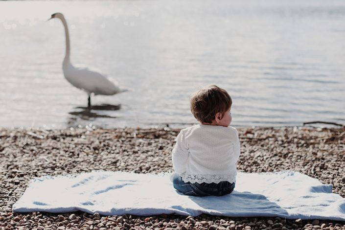 Cute children baby photography Sheffield | Natural photography | Baby with a swan
