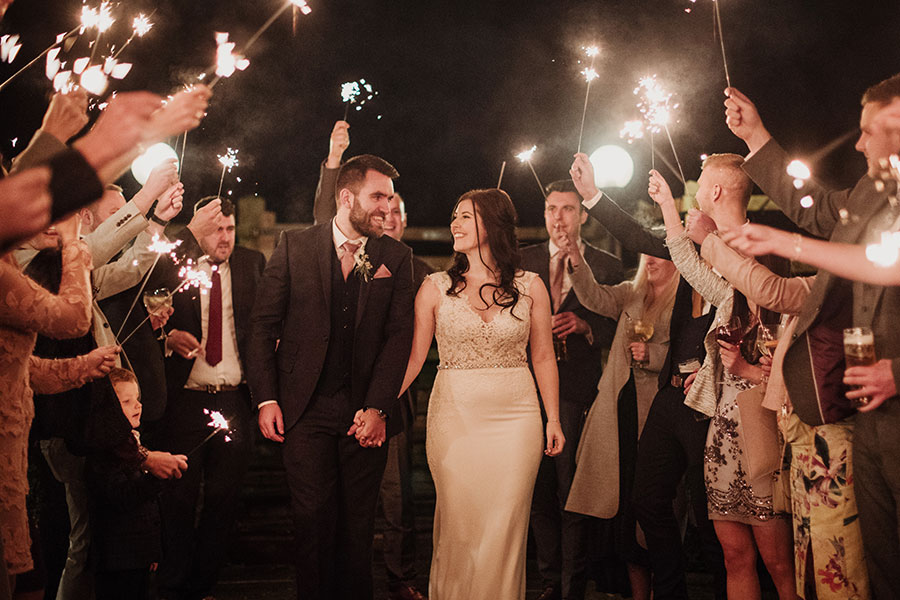 The White Hart Inn Moorwood Moor wedding | Derbyshire wedding photographer | Derbyshire natural wedding photographer | Sparkler walkthrough send off