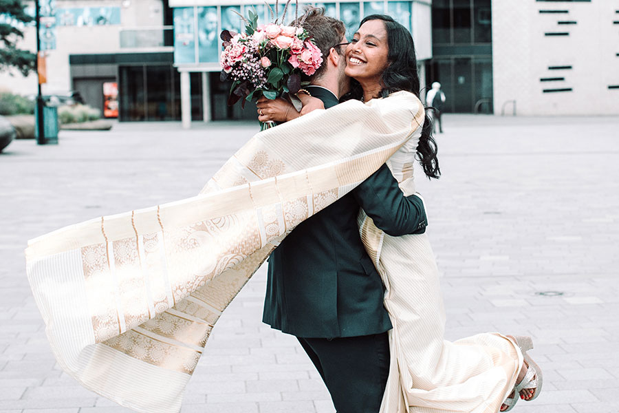Post coronavirus wedding July 2020 | Sheffield Town Hall wedding photographer | Beautiful Indian bride & English groom | Natural wedding photography Sheffield & Yorkshire | Covid19 | Sheffield city centre bride & groom photoshoot