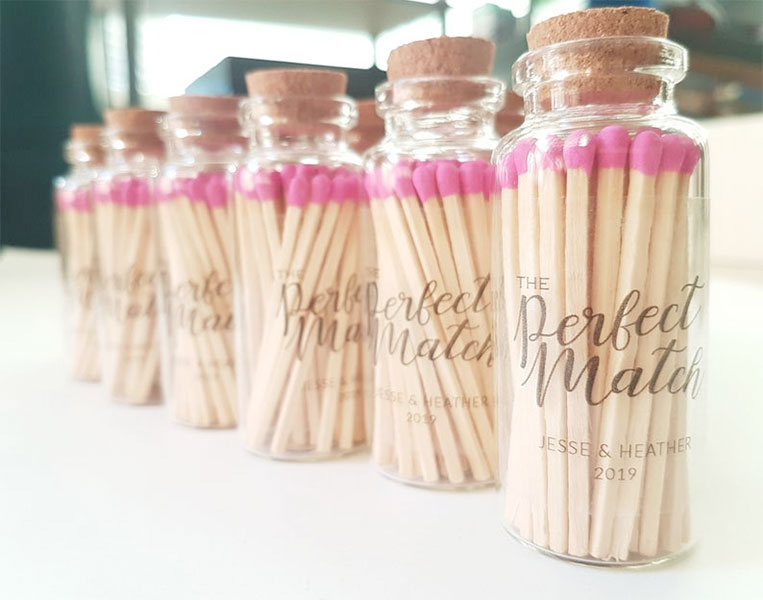 wedding party favour idea | cute matchstick gift
