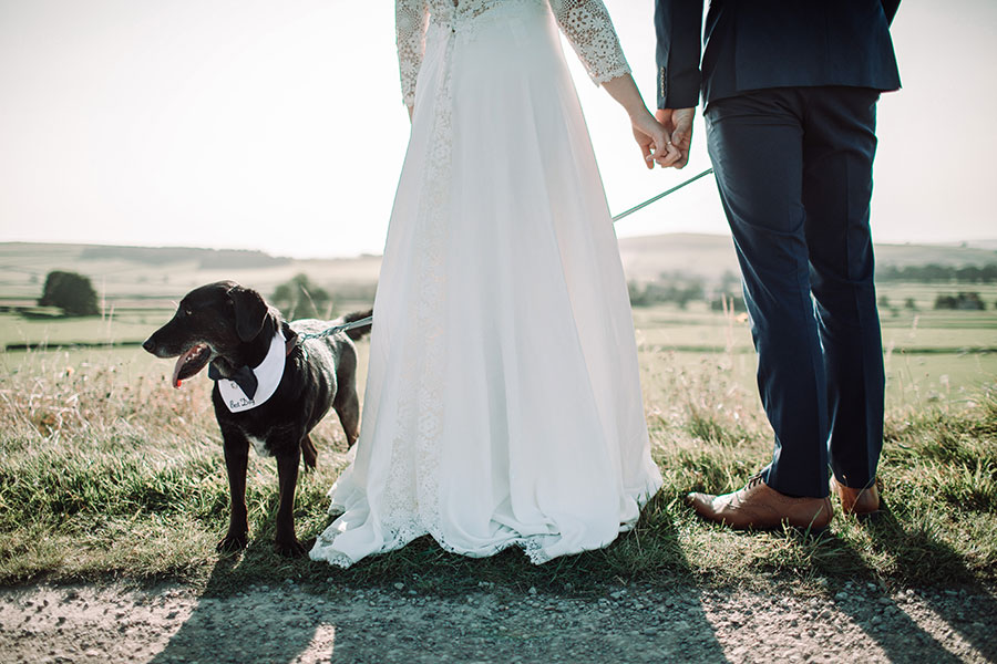Peak District wedding | Bride and groom in countryside | Bride and groom with pet dog | Natural wedding photography Derbyshire Yorkshire