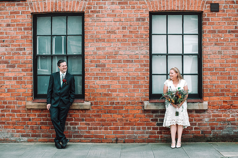 Sheffield Town Hall wedding photography ceremony | Small wedding party | Mature bride and groom | Natural Sheffield wedding photography |