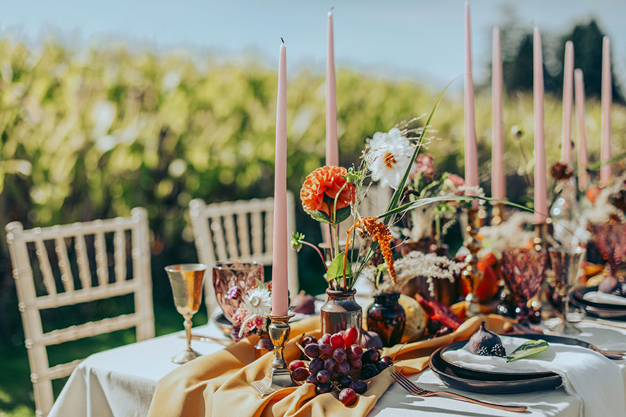 Alcumlow Wedding Barn Congleton | Cheshire wedding photography | Summer outdoor wedding Italian countryside vibes | French countryside | Candles fruit and flowers table set up