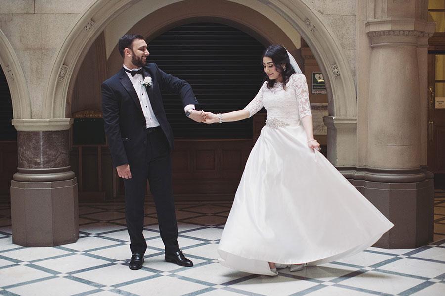 Beautiful muslim wedding Sheffield | Muslim bride in white wedding dress | Sheffield Town Hall wedding photography